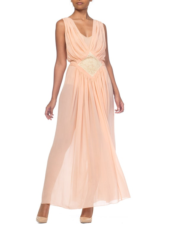 Couture sheer Silk Chiffon 1930s Negligee With Lace Size: S
