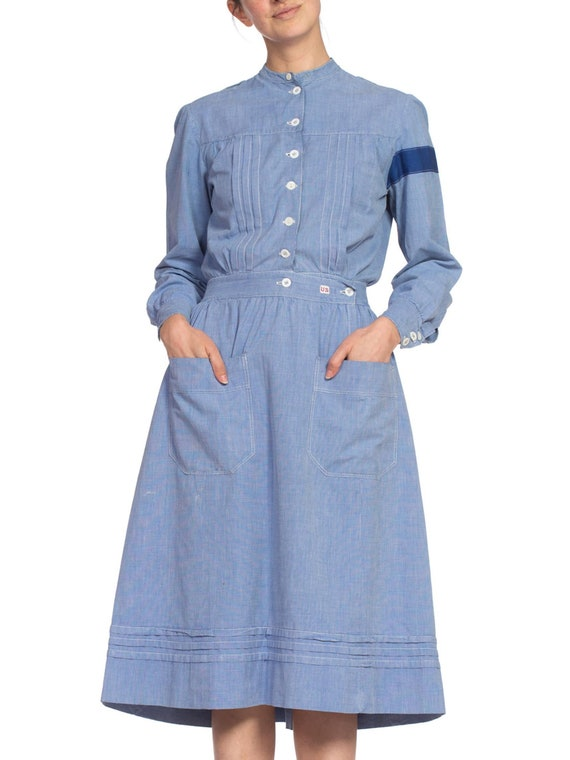 Edwardian Cotton Chambray WWI Authentic War Nurse