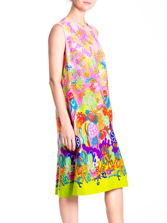 1970s Psychedelic Floral Print Sleeveless Midi Dr… - image 3
