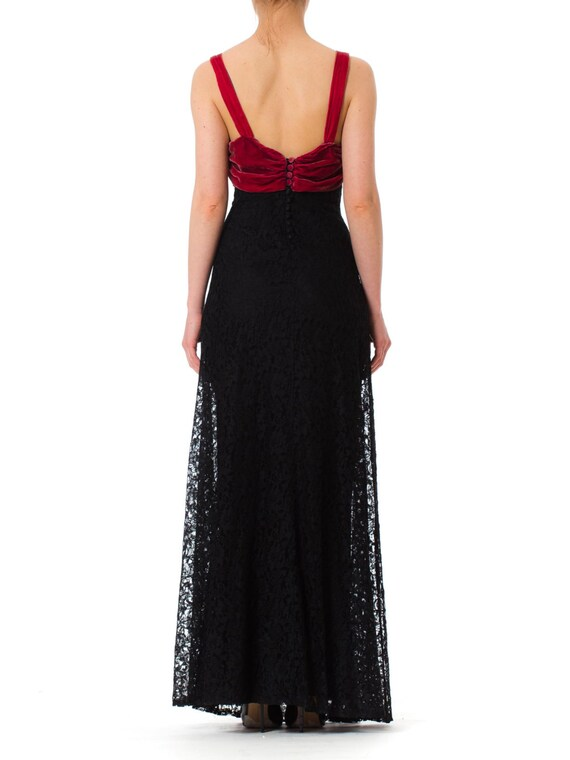1930S Black Rayon Lace Bias Cut Gown With Raspber… - image 3