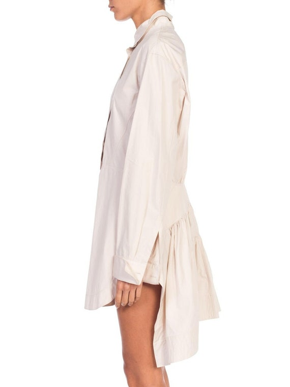 1990S AZZEDINE ALAIA Ecru Cotton Shirt Dress - image 3