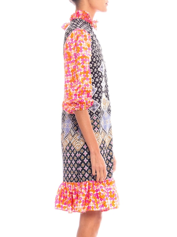 1960S Multicolor Patchwork Boho Printed Polyester… - image 2
