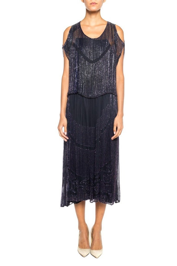 1920S Silk Chiffon Beaded Navy Cocktail Dress