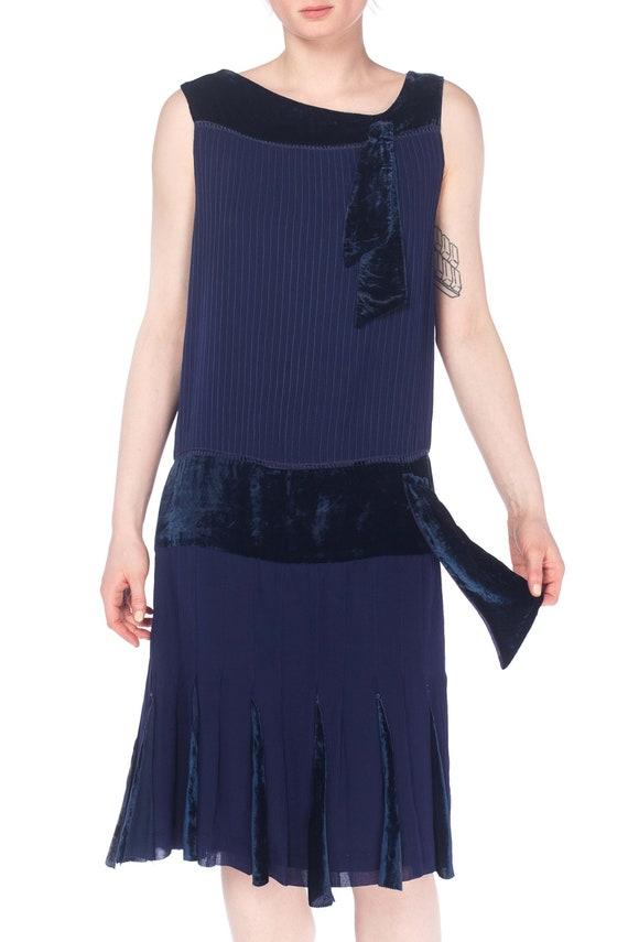 1920S Navy Blue Silk & Velvet Pintucked Drop Wais… - image 5