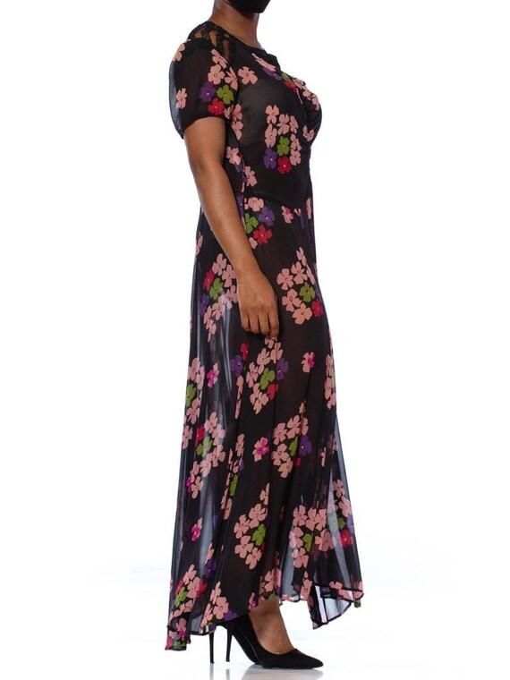 1930S Black Silk Chiffon Pink Floral Dress With L… - image 2