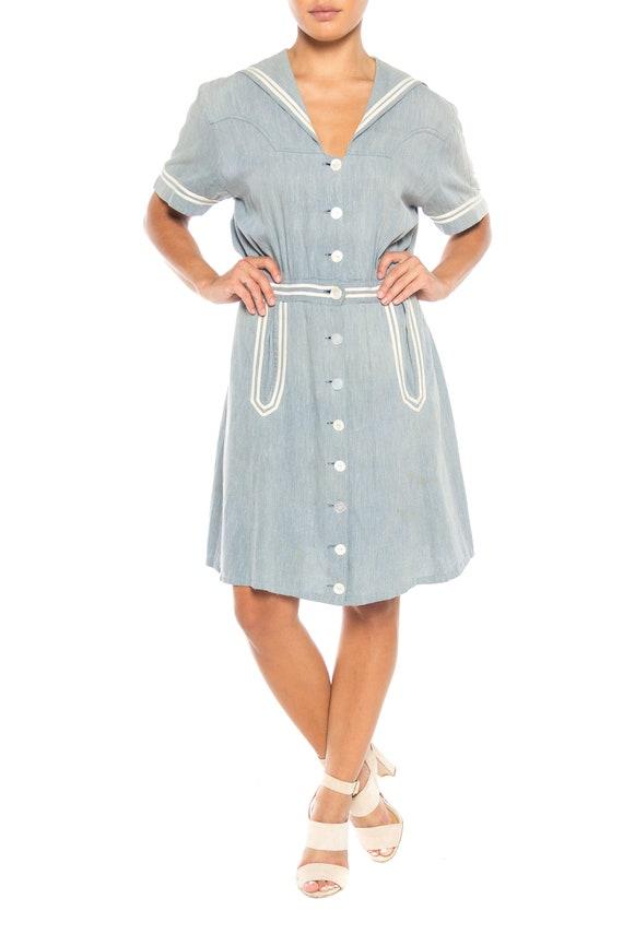 1930S Organic Cotton Chambray  Sailor Day Dress - image 2