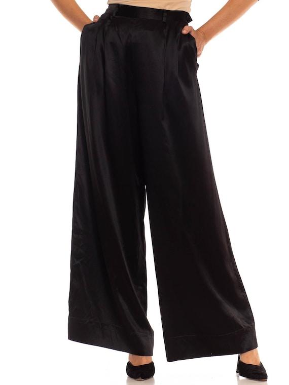1980S Ralph Lauren Polo Black Silk Satin Palazzo P