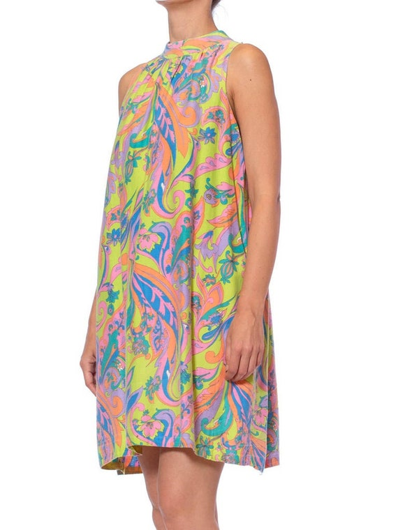 1960S Lime Green Psychedelic Cotton Mod Shift Dres