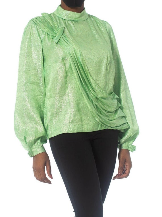 1970S Mint Green Silver Poly Lurex Long Sleeve Top - image 1