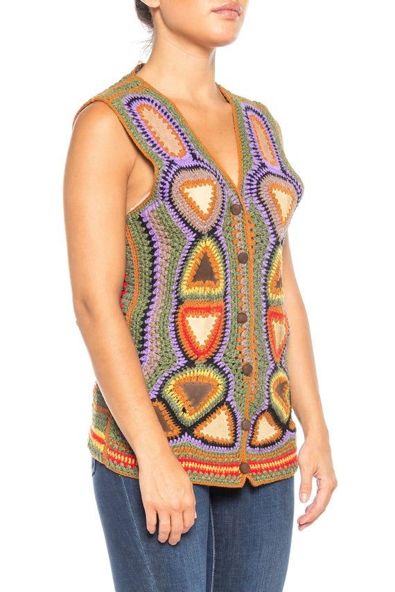 1970S Multicolor Acrylic Crochet & Suede Boho Vest - image 5
