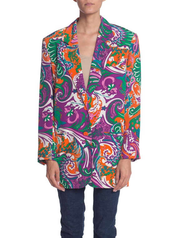 1980S PUCCI Style Silk Crepe De Chine Psychedelic