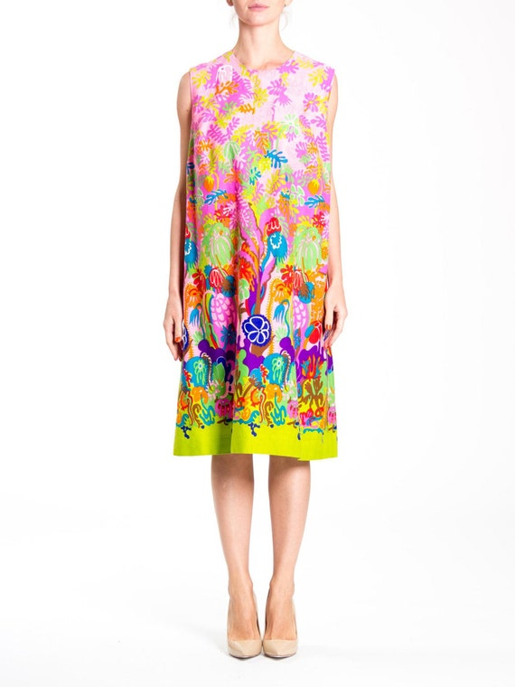 1970s Psychedelic Floral Print Sleeveless Midi Dre