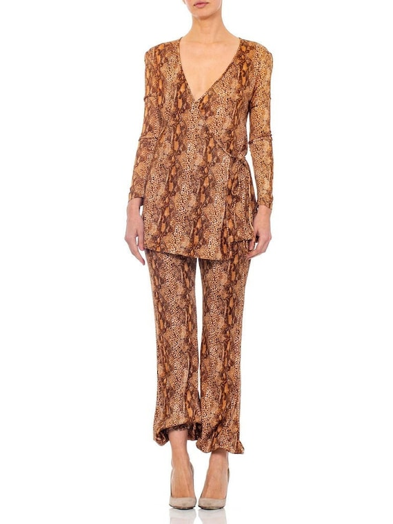 1970S Brown Snake Print Polyester Jersey Wrap Top