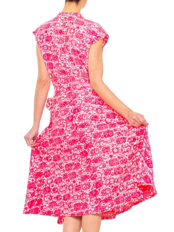 1950S Red Printed Cotton Shirt Dress - image 9
