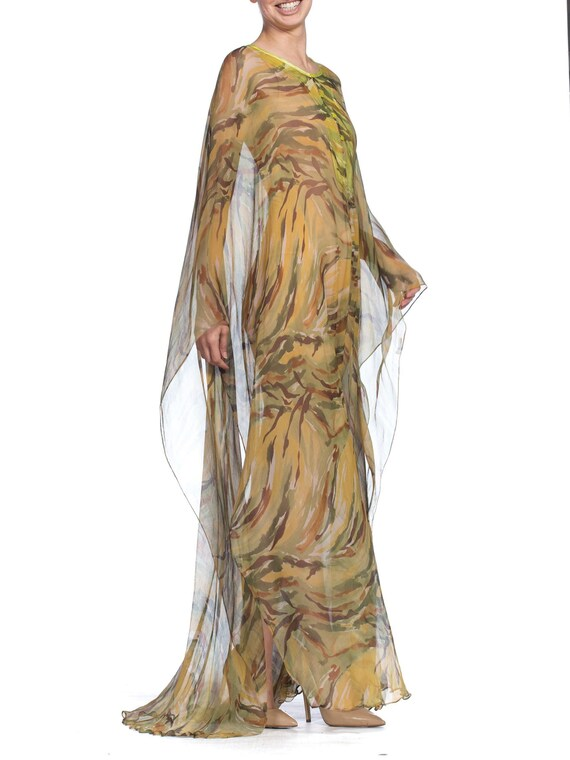 1990's  Romeo Gigli Sheer Silk Chiffon Kaftan Siz… - image 5