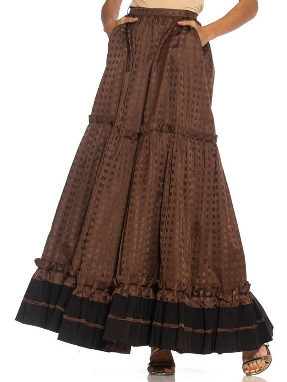 1970S Lanvin Brown Haute Couture Silk Full Pleate… - image 7