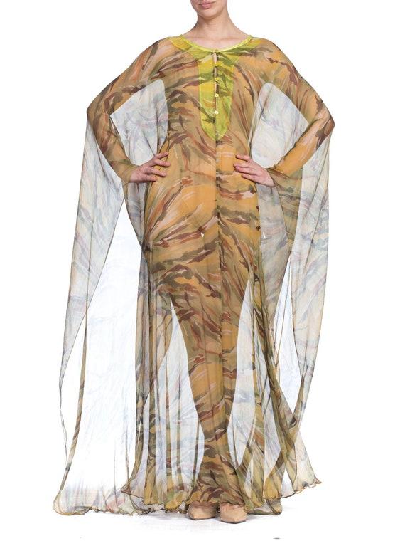 1990's  Romeo Gigli Sheer Silk Chiffon Kaftan Siz… - image 9