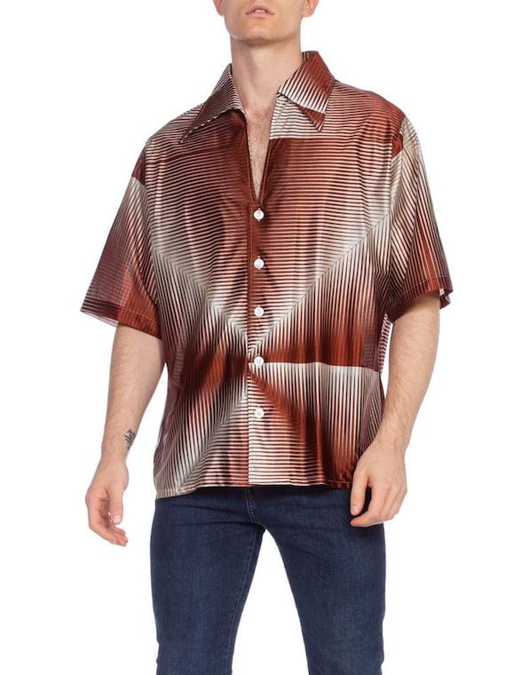 1970'S Brown Geometric Acetate Men's Disco Shirt X