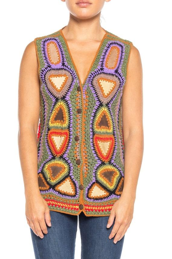 1970S Multicolor Acrylic Crochet & Suede Boho Vest - image 1