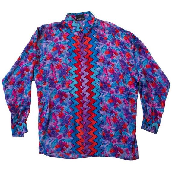 1990S Istante Gianni Versace Purple  Blue Silk Twi