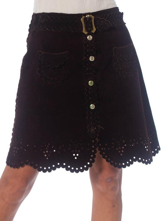 1960S Brown Suede Mini Skirt With Lace-Like Punche