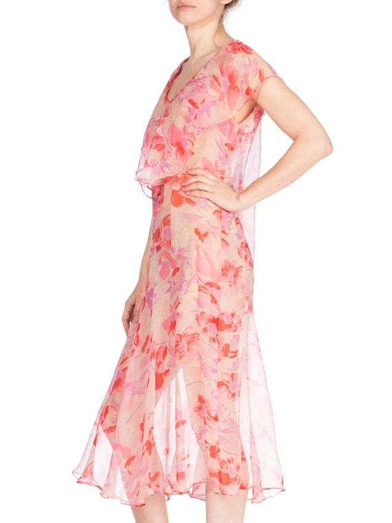 1920S Silk Chiffon Pink Floral Drop Waist Day Dre… - image 5