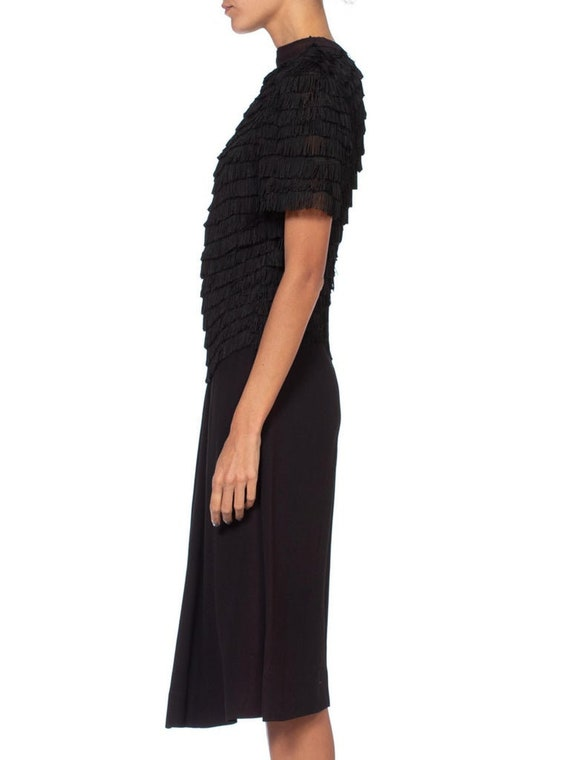 1940S Black Rayon & Silk Crepe Zipper Front Fring… - image 2