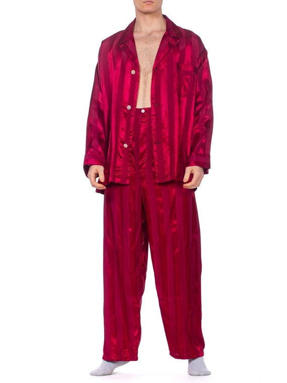 1940S Maroon Rayon Men's Satin Stripe Pajamas Larg