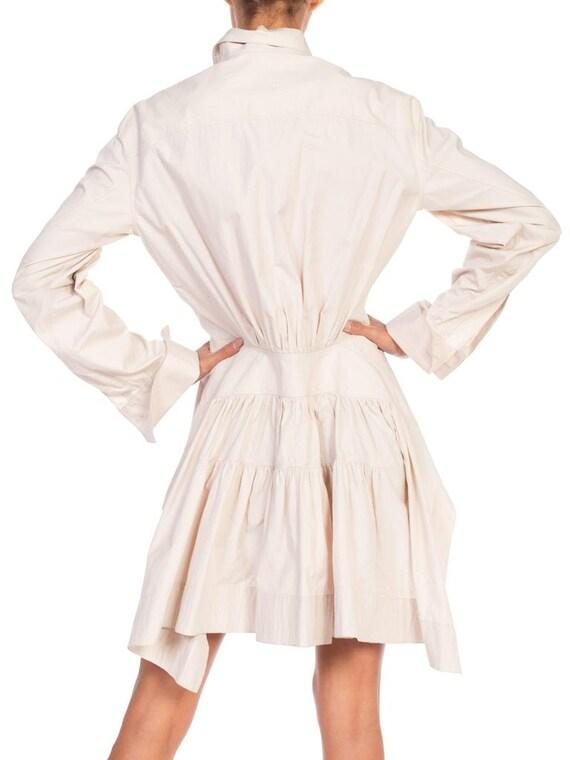 1990S AZZEDINE ALAIA Ecru Cotton Shirt Dress - image 5