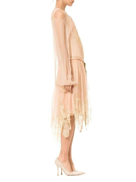 1920S Blush Pink Silk Mousseline  & Ivory Chantil… - image 2