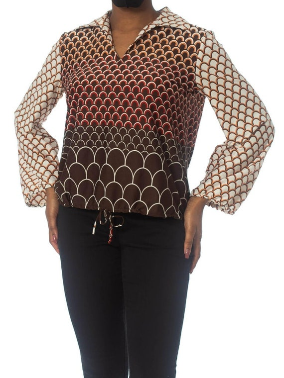 1960S Brown & Orange Polyester Jersey Geometric P… - image 5