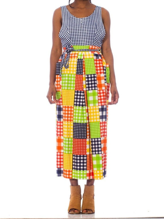 1970S Printed Patchwork Cotton Pinafore Wrap Dress