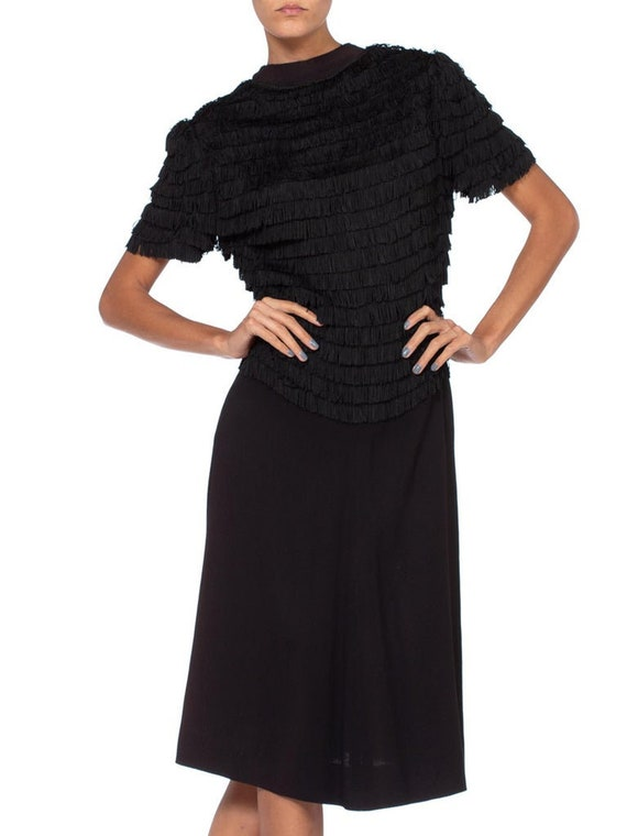1940S Black Rayon & Silk Crepe Zipper Front Fring… - image 6