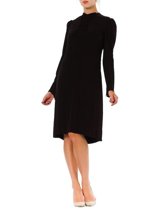 1930S Black Silk Crepe Back Satin Long Sleeve Dres