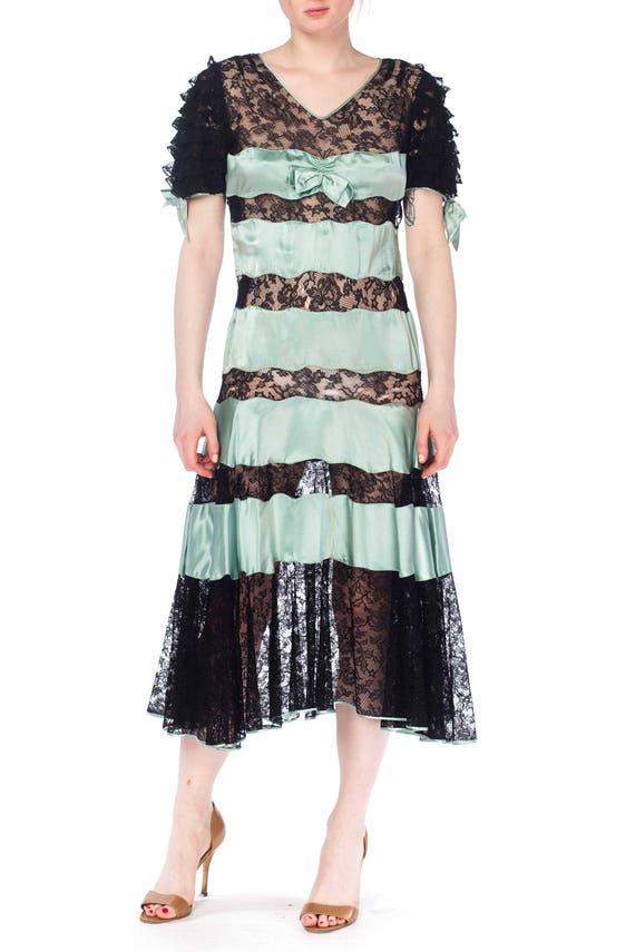 1930S Mint Blue & Black Silk Satin Lace Dress With