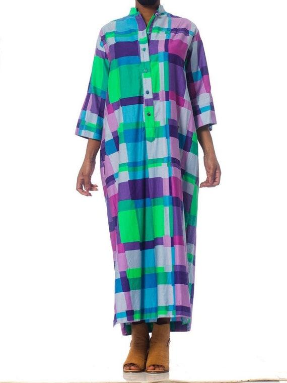 1960S Geometric Cotton Kaftan Dress
