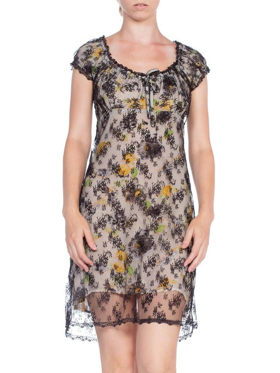1990's Anna Sui Floral Print Lace Baby Doll Dress