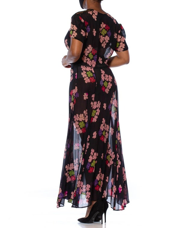 1930S Black Silk Chiffon Pink Floral Dress With L… - image 6