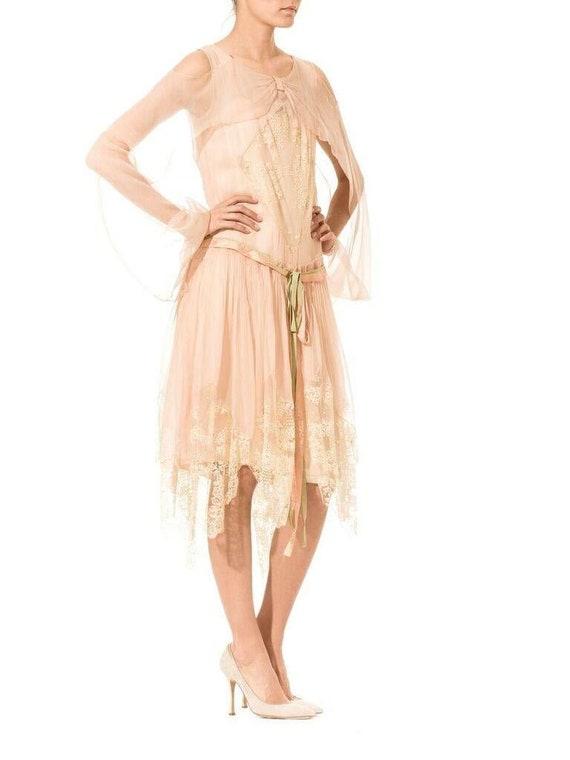 1920S Blush Pink Silk Mousseline  & Ivory Chantil… - image 5