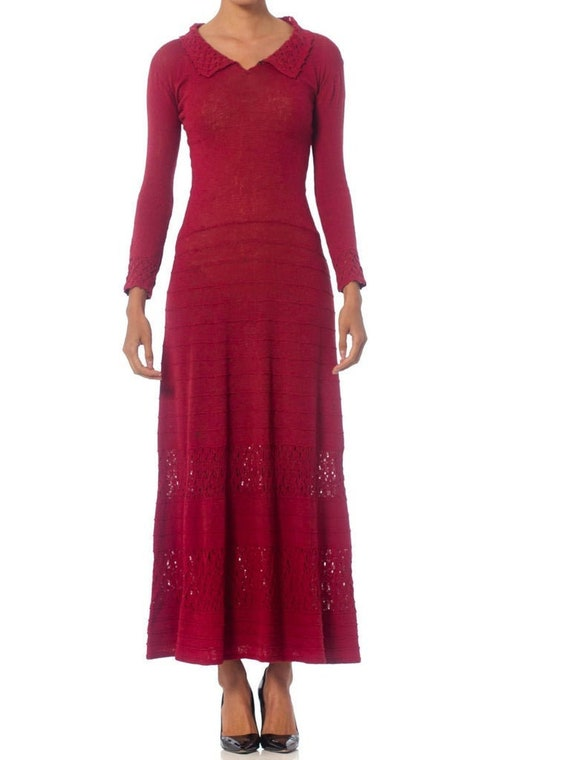 1930S Cranberry Red Rare Rayon Blend Knit Maxi Dre