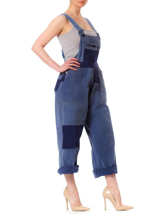 1940S Denim Men's Patchwork French Workwear Overa… - image 2