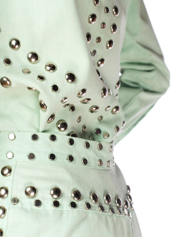 1970S Mint Green Cotton Denim Studded Two Piece J… - image 7