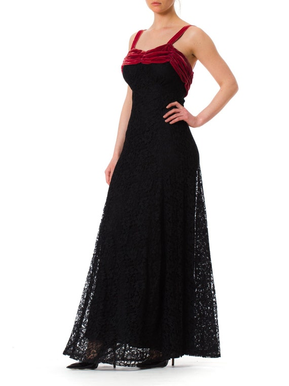 1930S Black Rayon Lace Bias Cut Gown With Raspber… - image 4