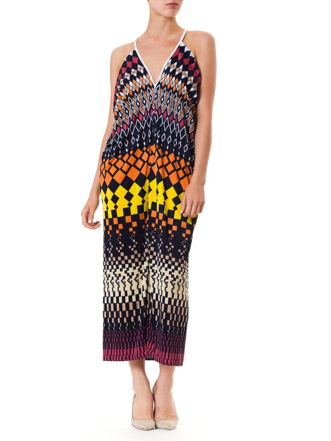 06693382b69 1970S MORPHEW LAB Maxi Resort Dress 1 Size  OS