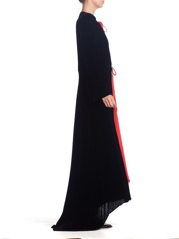 1930S Black Silk Velvet  & Red Crepe Dressing Gow… - image 3