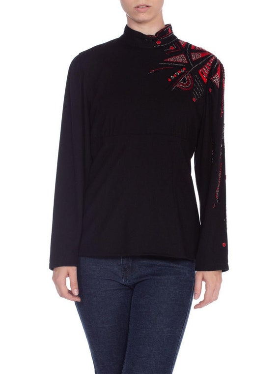 1980's Hand Beaded And Embroidered Wool Sweater