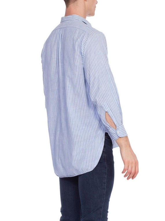 1930S Blue Linen Men's Striped Popover Shirt - image 4