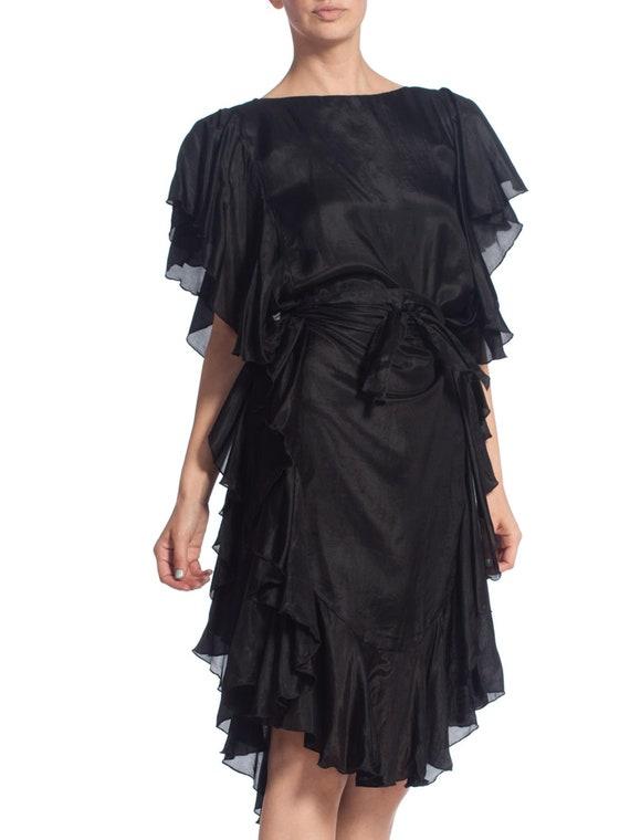 1970S Black Silk Ruffled Tunic Dress