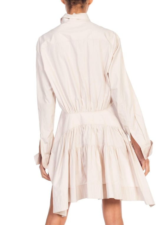 1990S AZZEDINE ALAIA Ecru Cotton Shirt Dress - image 4