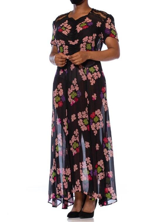 1930S Black Silk Chiffon Pink Floral Dress With L… - image 4